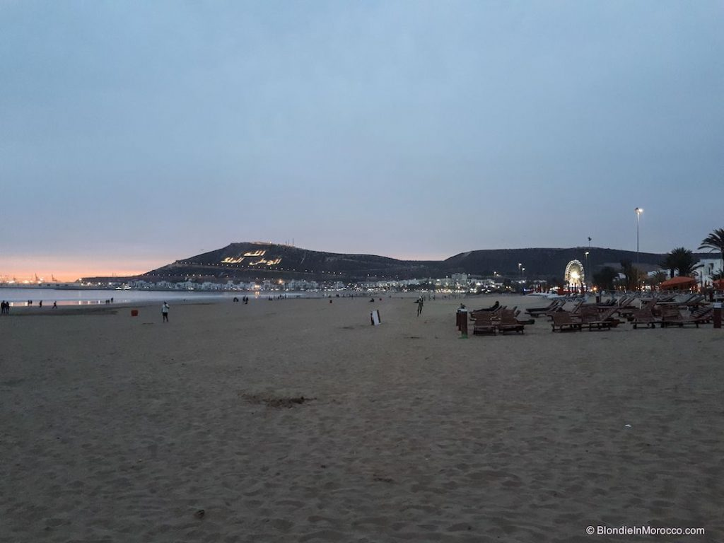 Agadir beach flag mountain kasbah night