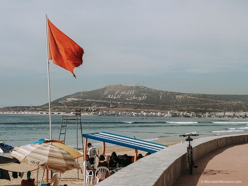 Agadir beach flag mountain kasbah