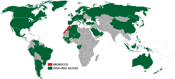 morocco visa policy map