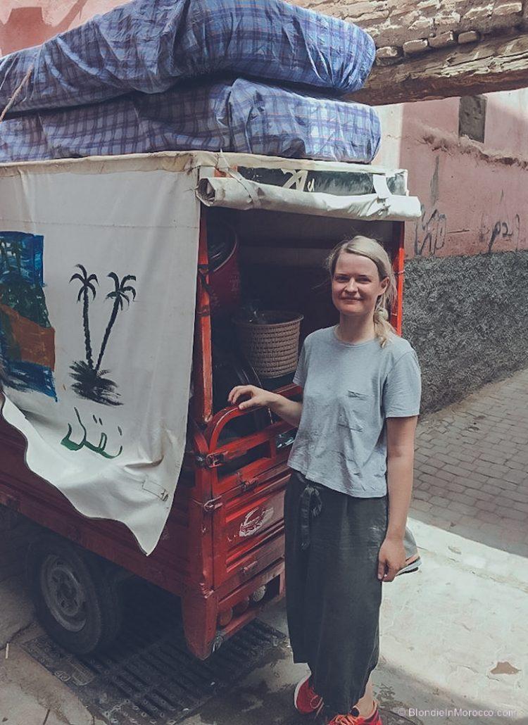 morocco tuk tuk streets medina marrakech girl
