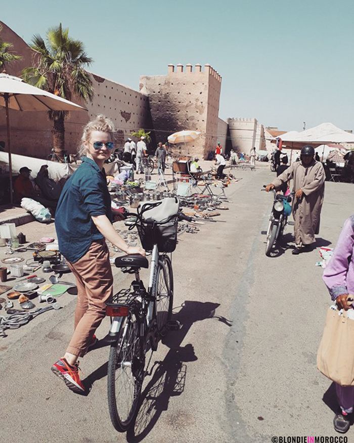 bicycle morocco marrakech girl cyclist sycling market