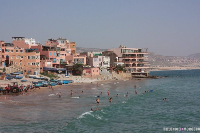 beach, morocco, taghazout, scenary, mountains