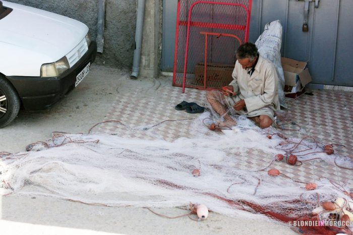 fisher, net, morocco, fishing