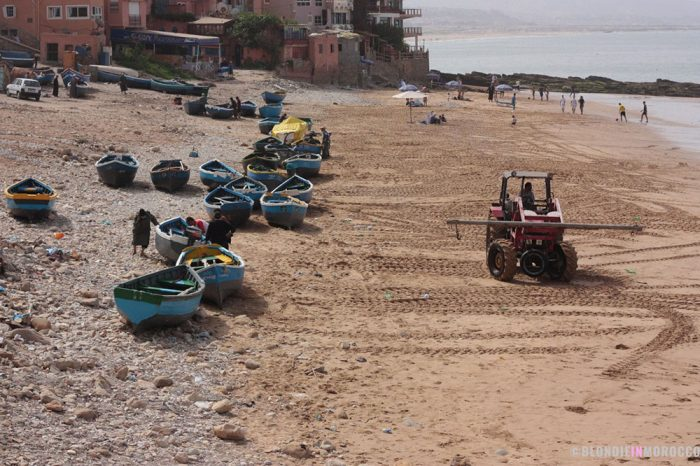 boats, beach, morocco, taghazout, fishers, water