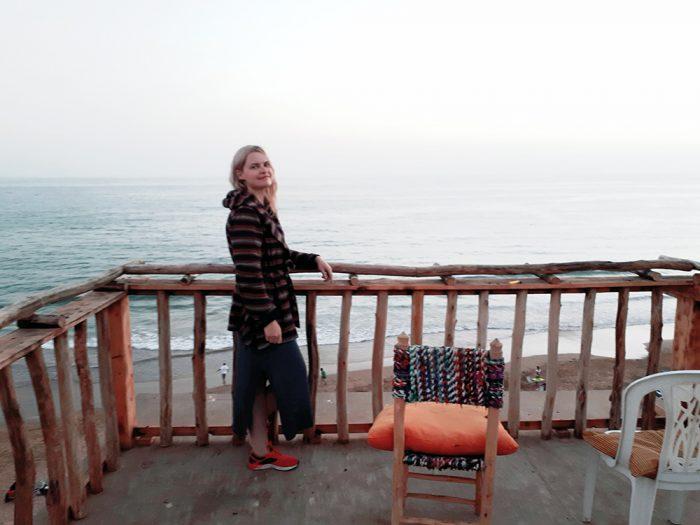 girl, morocco, terrace, beach view, hotel