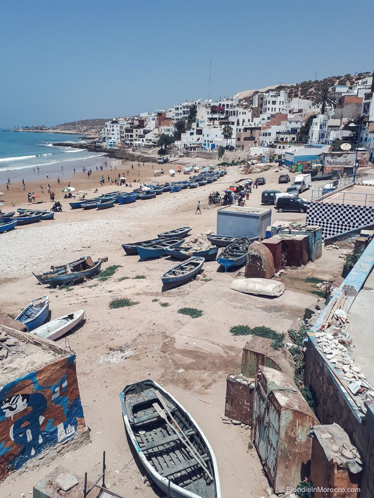 taghazout morocco beach boats fishers