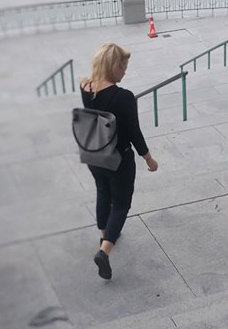 style minimalism girl grey clothes