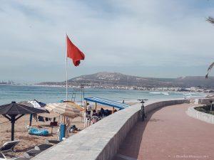 agadir beach morocco flag kasbah ocean