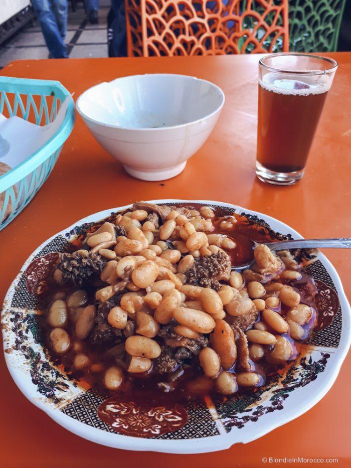 tripes morocco food street tkhalia beans tea
