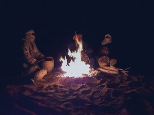 camping morocco desert night tents fire place