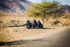 morocco, road, locals, wmen, tree
