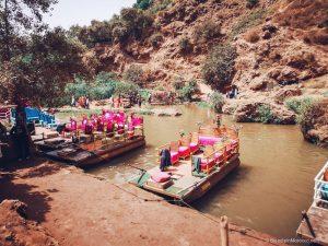 ouzoud, waterfall, river, lake, boat