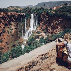 ouzoud, waterfall, morocco, mountain, girl