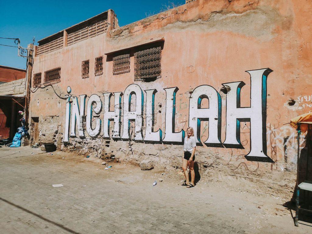 tameslouht graffitti morocco wall inchallah