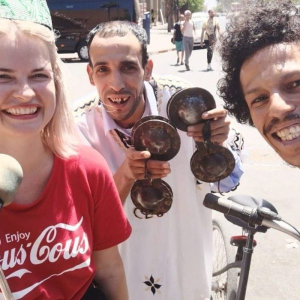 Nabil Skily in bicycle conversation with Blondie in Morocco