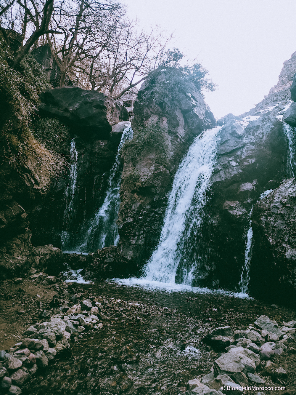 Imlil Morocco mountains High Atlas snow hiking waterfall