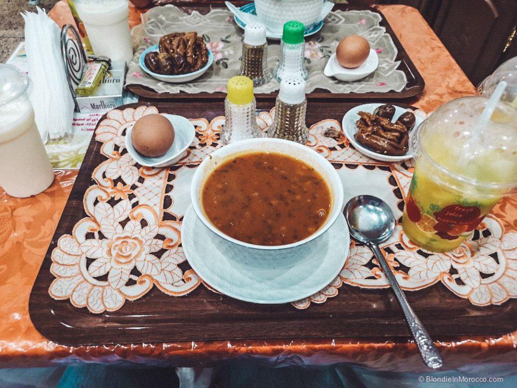 ramadan breakfast iftar harira eggs chebakia