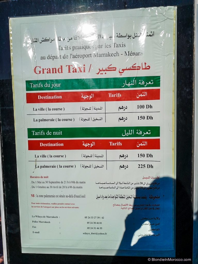 taxi prices marrakech airport tarif