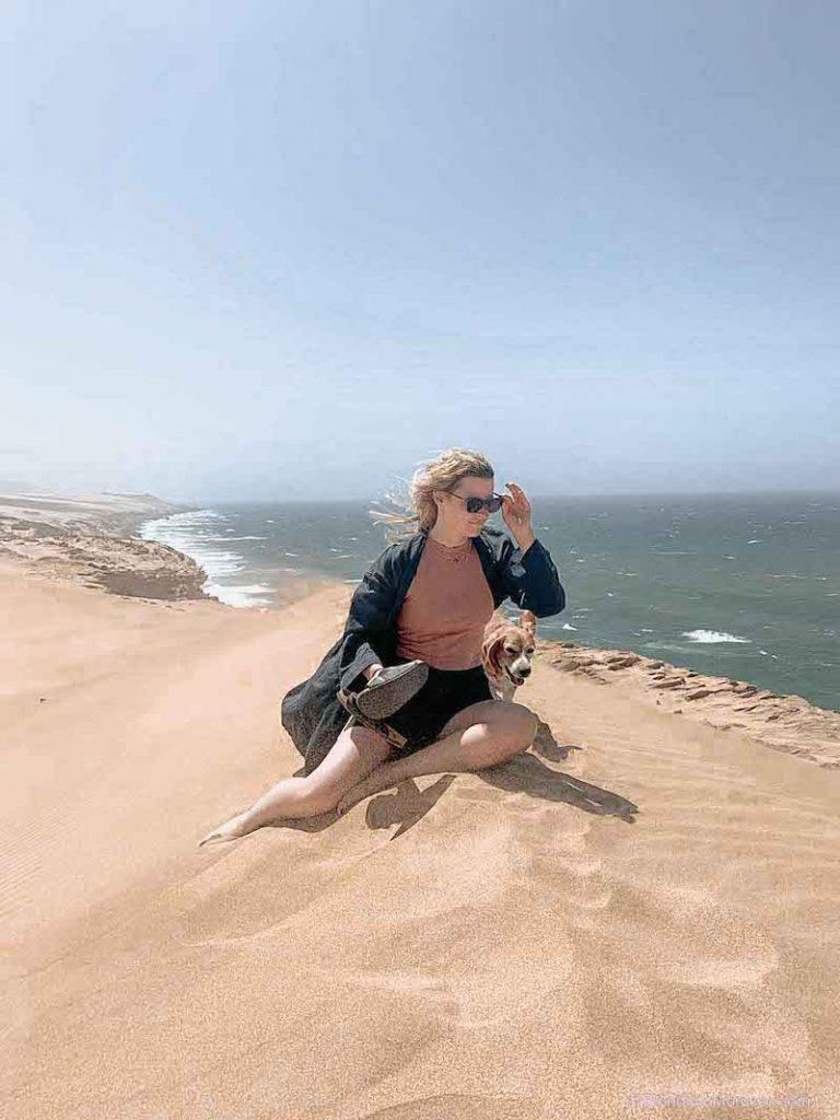 Taboga dunes morocco girl dog